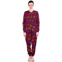 Happy Mothers Day Text Tiling Pattern Onepiece Jumpsuit (ladies)