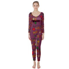 Happy Mothers Day Text Tiling Pattern Long Sleeve Catsuit