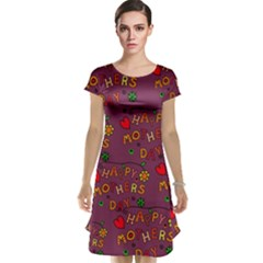 Happy Mothers Day Text Tiling Pattern Cap Sleeve Nightdress