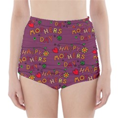 Happy Mothers Day Text Tiling Pattern High-Waisted Bikini Bottoms