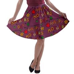 Happy Mothers Day Text Tiling Pattern A-line Skater Skirt