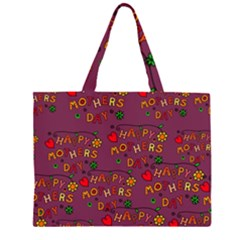 Happy Mothers Day Text Tiling Pattern Zipper Large Tote Bag