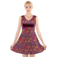 Happy Mothers Day Text Tiling Pattern V Neck Sleeveless Skater Dress
