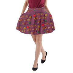 Happy Mothers Day Text Tiling Pattern A-Line Pocket Skirt