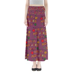 Happy Mothers Day Text Tiling Pattern Maxi Skirts
