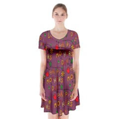 Happy Mothers Day Text Tiling Pattern Short Sleeve V-neck Flare Dress