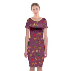 Happy Mothers Day Text Tiling Pattern Classic Short Sleeve Midi Dress
