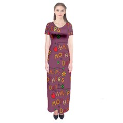 Happy Mothers Day Text Tiling Pattern Short Sleeve Maxi Dress
