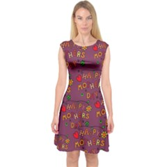 Happy Mothers Day Text Tiling Pattern Capsleeve Midi Dress