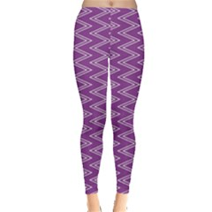 Purple Zig Zag Pattern Background Wallpaper Leggings