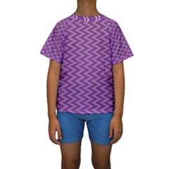 Purple Zig Zag Pattern Background Wallpaper Kids  Short Sleeve Swimwear