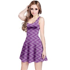 Purple Zig Zag Pattern Background Wallpaper Reversible Sleeveless Dress