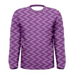 Purple Zig Zag Pattern Background Wallpaper Men s Long Sleeve Tee