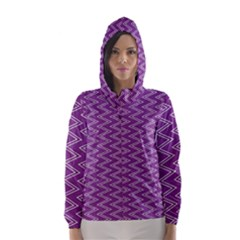 Purple Zig Zag Pattern Background Wallpaper Hooded Wind Breaker (Women)