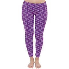 Purple Zig Zag Pattern Background Wallpaper Classic Winter Leggings