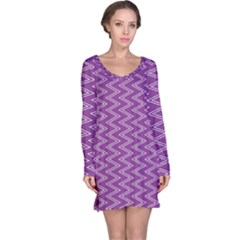 Purple Zig Zag Pattern Background Wallpaper Long Sleeve Nightdress