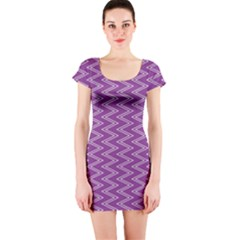 Purple Zig Zag Pattern Background Wallpaper Short Sleeve Bodycon Dress