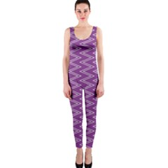 Purple Zig Zag Pattern Background Wallpaper OnePiece Catsuit