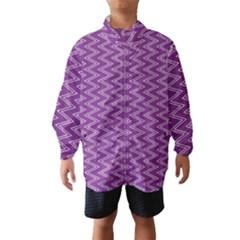 Purple Zig Zag Pattern Background Wallpaper Wind Breaker (Kids)