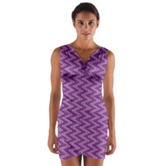 Purple Zig Zag Pattern Background Wallpaper Wrap Front Bodycon Dress