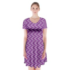 Purple Zig Zag Pattern Background Wallpaper Short Sleeve V-neck Flare Dress