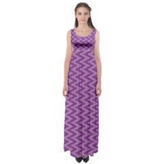 Purple Zig Zag Pattern Background Wallpaper Empire Waist Maxi Dress