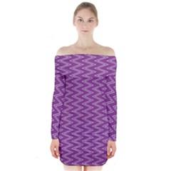 Purple Zig Zag Pattern Background Wallpaper Long Sleeve Off Shoulder Dress