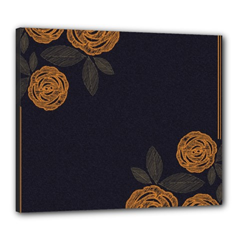 Floral Roses Seamless Pattern Vector Background Canvas 24  x 20