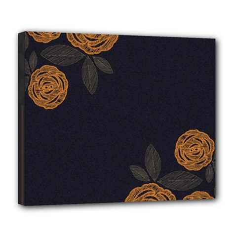 Floral Roses Seamless Pattern Vector Background Deluxe Canvas 24  x 20