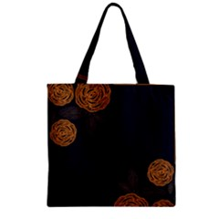 Floral Roses Seamless Pattern Vector Background Zipper Grocery Tote Bag