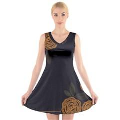 Floral Roses Seamless Pattern Vector Background V Neck Sleeveless Skater Dress