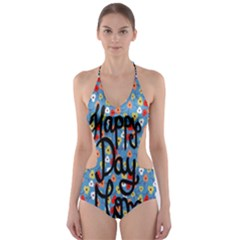 Happy Mothers Day Celebration Cut-Out One Piece Swimsuit