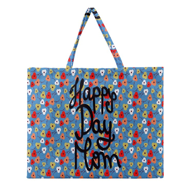 Happy Mothers Day Celebration Zipper Large Tote Bag