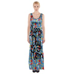 Happy Mothers Day Celebration Maxi Thigh Split Dress