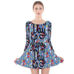 Happy Mothers Day Celebration Long Sleeve Velvet Skater Dress