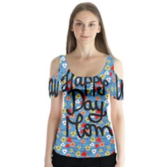 Happy Mothers Day Celebration Butterfly Sleeve Cutout Tee