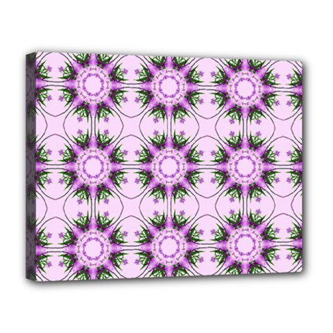 Pretty Pink Floral Purple Seamless Wallpaper Background Canvas 14  x 11