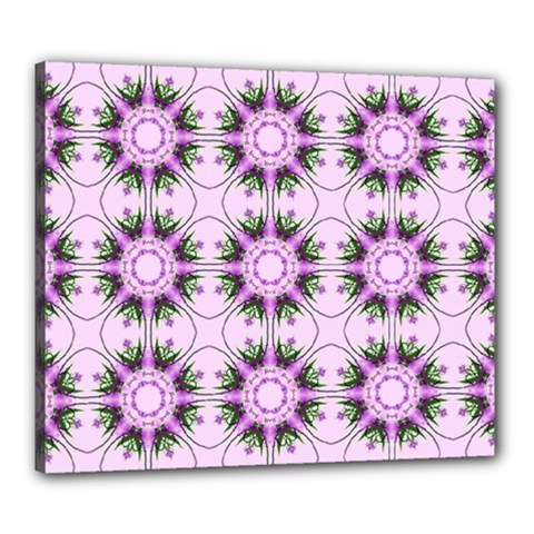 Pretty Pink Floral Purple Seamless Wallpaper Background Canvas 24  x 20