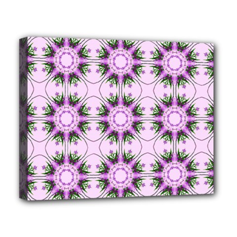 Pretty Pink Floral Purple Seamless Wallpaper Background Deluxe Canvas 20  X 16