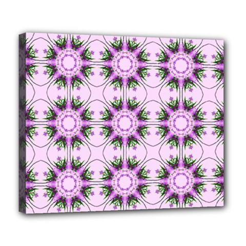 Pretty Pink Floral Purple Seamless Wallpaper Background Deluxe Canvas 24  X 20