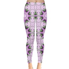 Pretty Pink Floral Purple Seamless Wallpaper Background Leggings
