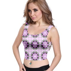 Pretty Pink Floral Purple Seamless Wallpaper Background Crop Top