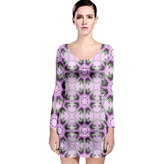 Pretty Pink Floral Purple Seamless Wallpaper Background Long Sleeve Bodycon Dress