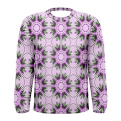 Pretty Pink Floral Purple Seamless Wallpaper Background Men s Long Sleeve Tee