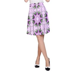 Pretty Pink Floral Purple Seamless Wallpaper Background A-Line Skirt
