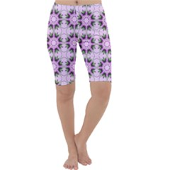 Pretty Pink Floral Purple Seamless Wallpaper Background Cropped Leggings