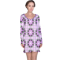Pretty Pink Floral Purple Seamless Wallpaper Background Long Sleeve Nightdress