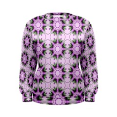 Pretty Pink Floral Purple Seamless Wallpaper Background Women s Sweatshirt