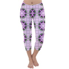 Pretty Pink Floral Purple Seamless Wallpaper Background Capri Winter Leggings