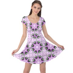 Pretty Pink Floral Purple Seamless Wallpaper Background Cap Sleeve Dresses